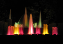 Longwood fountains after the play